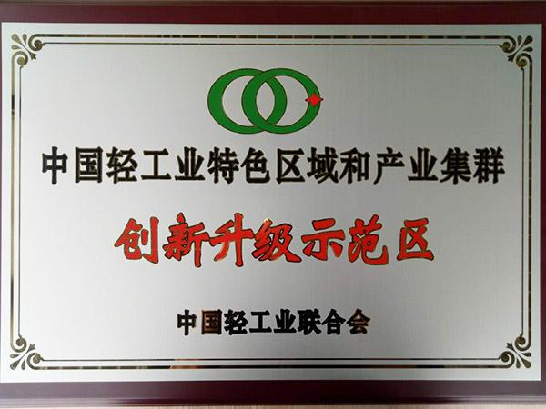森丰钟表真空镀膜厂家荣誉-中国轻工业特色区域和产业集群创新升级示范区